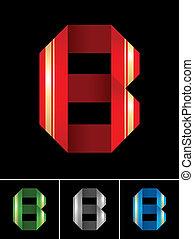 ABC font from coloured set paper ribbon-Latin letter B