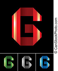 ABC font from coloured set paper ribbon-Latin letter G