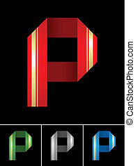 ABC font from coloured set paper ribbon-Latin letter P