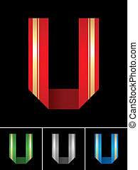 ABC font from coloured set paper ribbon-Latin letter U