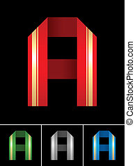 ABC font from coloured set paper ribbon-Latin letter A