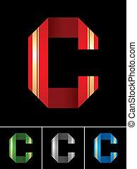 ABC font from coloured set paper ribbon-Latin letter C