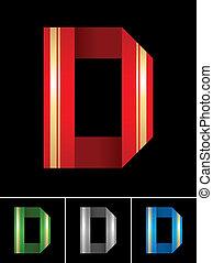 ABC font from coloured set paper ribbon-Latin letter D