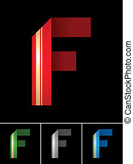 ABC font from coloured set paper ribbon-Latin letter F
