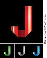 ABC font from coloured set paper ribbon-Latin letter J