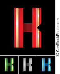 ABC font from coloured set paper ribbon-Latin letter K