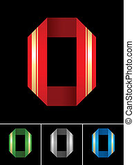 ABC font from coloured set paper ribbon-Latin letter O
