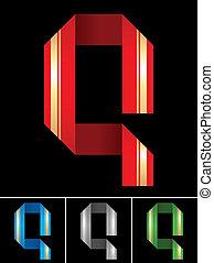 ABC font from coloured set paper ribbon-Latin letter Q