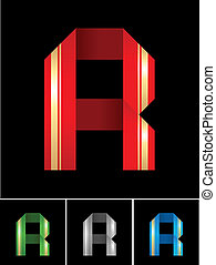ABC font from coloured set paper ribbon-Latin letter R