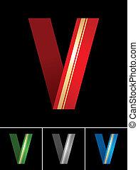 ABC font from coloured set paper ribbon-Latin letter V
