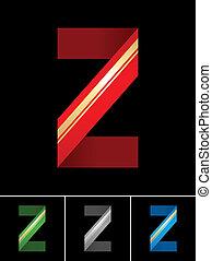 ABC font from coloured set paper ribbon-Latin letter Z