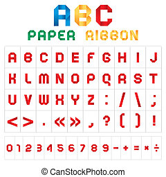 ABC font from paper tape, colored