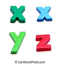 ABC fridge magnets letters x, y and z