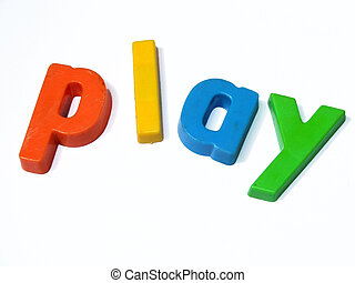 ABC fridge magnets spell Play - Play is spelt out in...