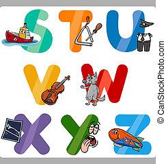 abc, gyerekek, irodalomtudomány, oktatás, karikatúra