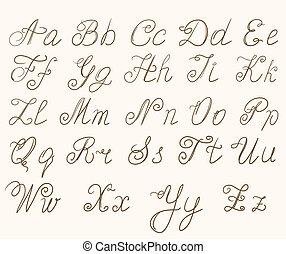abc, handgeschrieben