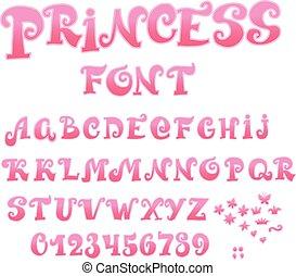 abc, illustration, conte, vecteur, font., princesse féerique