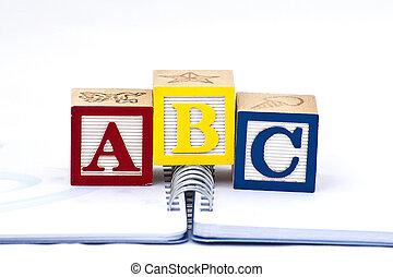 ABC in wooden blocks