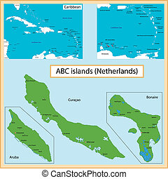 Map of the Aruba, Bonaire, Curacao islands drawn with high detail and accuracy.