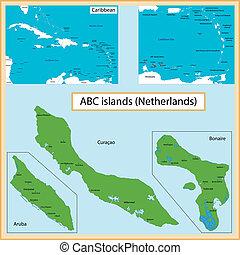 ABC Islands - Map of the Aruba, Bonaire, Curacao islands ...