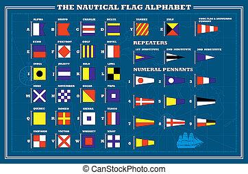 abc, jelez, -, tengeri, vektor, zászlók, tenger, nemzetközi