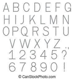 Brief, stachelig, schriftart, draht, abc. Stacheldraht, alphabet ...