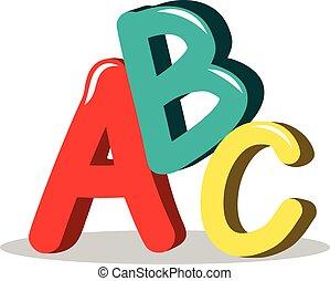 ABC learning symbols isolated - ABC illustration learning...