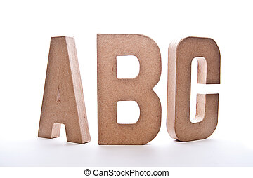 abc, letras, imagem, -, isolado, branca