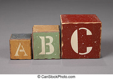 ABC Letter Blocks - ABC letters on wood colors over neutral...