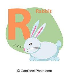 ABC Letter with Cute Rabbit Cartoon Vector
