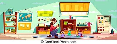 abc, lettere, esposizione, insegnante, vettore, bambini