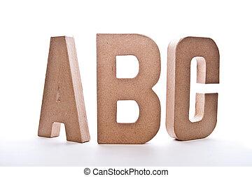 abc, lettere, immagine, -, isolato, bianco