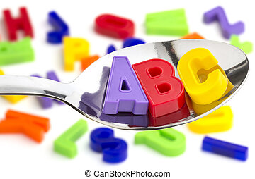 ABC - letters A, B, C, in a tablespoon