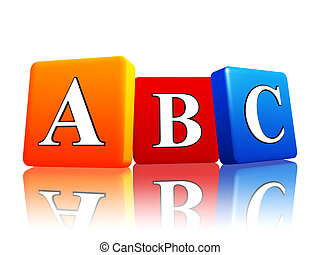 abc letters in color cubes - 3d colorful cubes with letters...