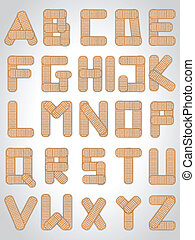 Abc letters made from medical plaster