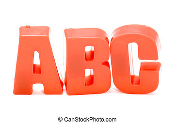 ABC letters - object on white - toy plastic letter