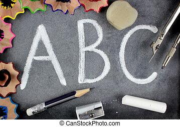 ABC letters on blackboard
