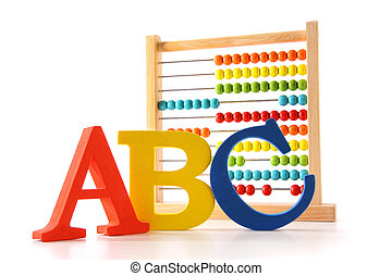 ABC letters with abacus on white