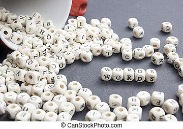 abc, mot, bois, texte, bois, cubes., bloc