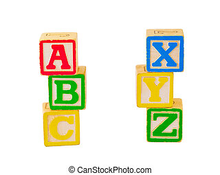 Alphabet blocks stacked and staggered in various ways.