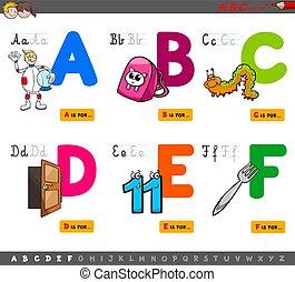 abc, nevelési, gyerekek, irodalomtudomány, karikatúra
