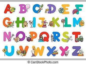 abc, nevelési, gyerekek, karikatúra