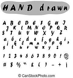abc, .nice, illustration., アルファベット, 手紙, 手, ベクトル, 型, design., 引かれる, 壷, あなたの, 株