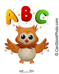 ABC Owl - Owl with ABC with Clipping Path