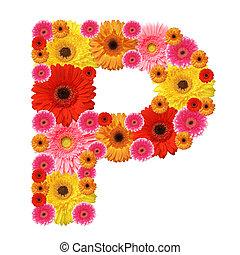abc - P, flower alphabet isolated on white