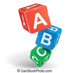 abc, palabra, dados, ilustración, 3d