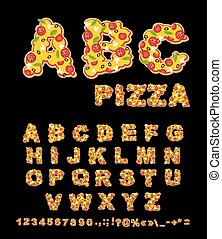 ABC Pizza. Appetizing letters from fast food. Edible font of traditional Italian food. Tasty Alphabet. Tomatoes and fresh herbs. Piece of salami and white mushrooms