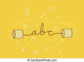 abc, résumé, illustration, apprendre, écouter, parler