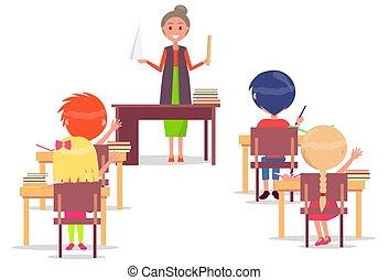 abc, school., asseoir, primaire, bureau, leçon, enfants