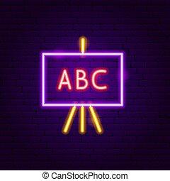 ABC School Board Neon Label